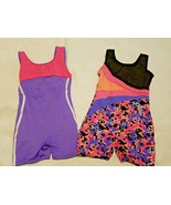 Danskin Gymnastics Leotard Lot Child Small Pink Purple Metal Studs Unitard - $16.41