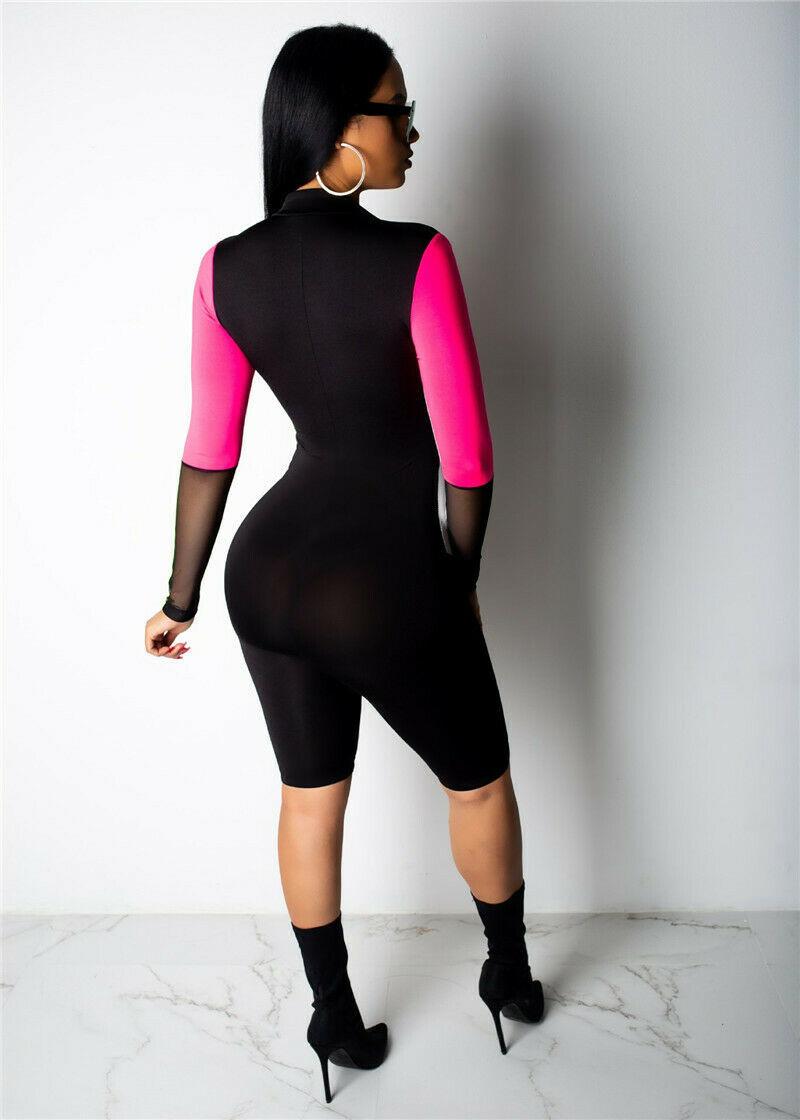 Sexy Summer Multi Color Patchwork Mesh Women Romper Long Sleeve Zipper Jumpsuit