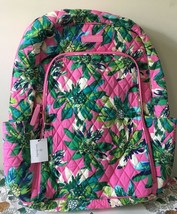 VERA BRADLEY Laptop Backpack Tropical Paradise Pattern Cotton Quilted NE... - $68.99