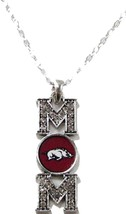 Arkansas Razorbacks Mom Clear Crystal Silver Red Necklace Jewelry Mother... - $12.65