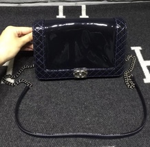 AUTHENTIC CHANEL Dark Navy Blue Patent Reverso Small Boy Flap Bag RARE