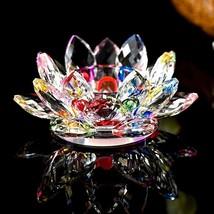 1X Crystal Glass Lotus Flower Candle Tea Light Holder Buddhist Candlesti... - $12.75