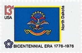 1976 13c North Dakota State Flag, Bicentennial Era Scott 1671 Mint F/VF NH - $1.19