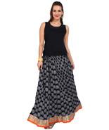 Black & White Paisley Jaipuri Skirt with golden & Orange border- SNY18223 - $25.75