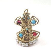 14k Yellow Gold Vintage Wind Mill Tower Charm Pendant With Color Stones ... - $522.40