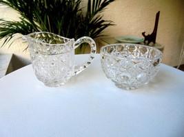 Clear Crystal Creamer & Sugar Bowl  c1950's - $11.88