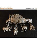 ON SALE Vintage JJ Jonette Jewelry Signed Noah's Ark W/Dangling Animals ... - $28.89