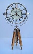 Nautical vintage brass desk clock adjustable wooden tripod stand marine ... - £91.67 GBP