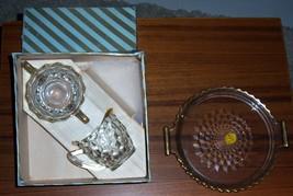 J EAN Nette Glass Sugar Creamer 3-PC Crystal Set Gold Trim Vintage New In Orig Box - $69.16