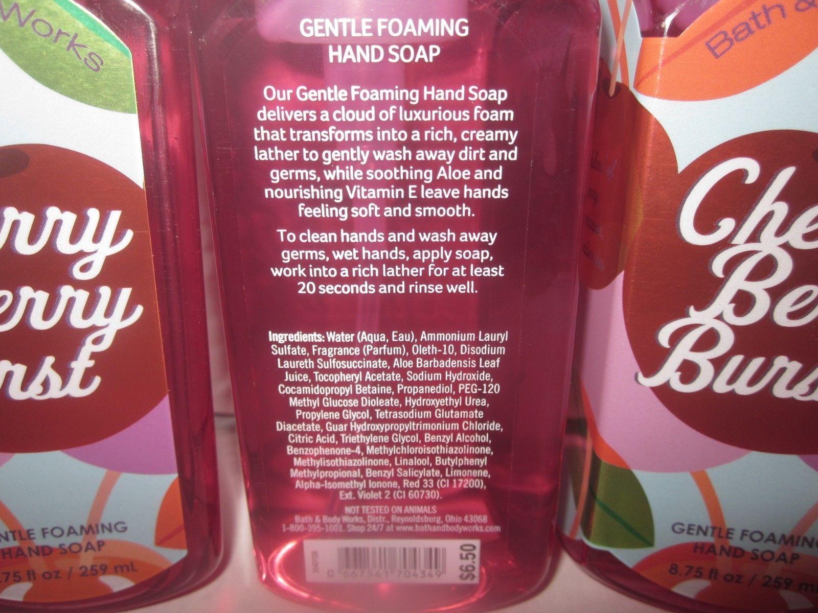 3 Bath & Body Works Gentle Foaming Hand Soap pomegranate Cherry Berry Burst