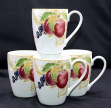Lenox Garden Mural * 4 MUGS / CUPS * Fruit & Leaves, EXC! - $26.72