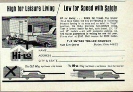 1965 Print Ad Snyder Hi-Lo Travel Trailers Low for Speed,Safety Butler,Ohio - $8.95
