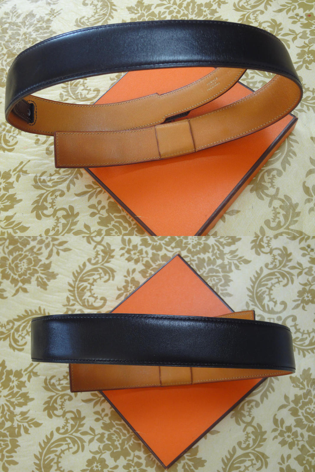 MINT. Vintage HERMES black box calf leather Kelly belt. Stamp S in O, 1989. size