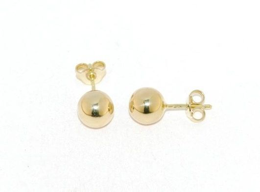 18K YELLOW GOLD EARRINGS WITH BIG 8 MM BALLS BALL ROUND SPHERE, MADE IN ITALY