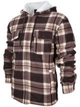 Men's Heavy Zip Up Fleece Lined Plaid Sherpa Hoodie Jacket New /w Defect 2XL
