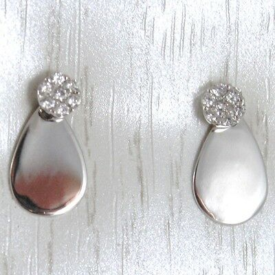 White Gold Earrings 750 18K Hanging, with Flower Zircon and Drop Glossy