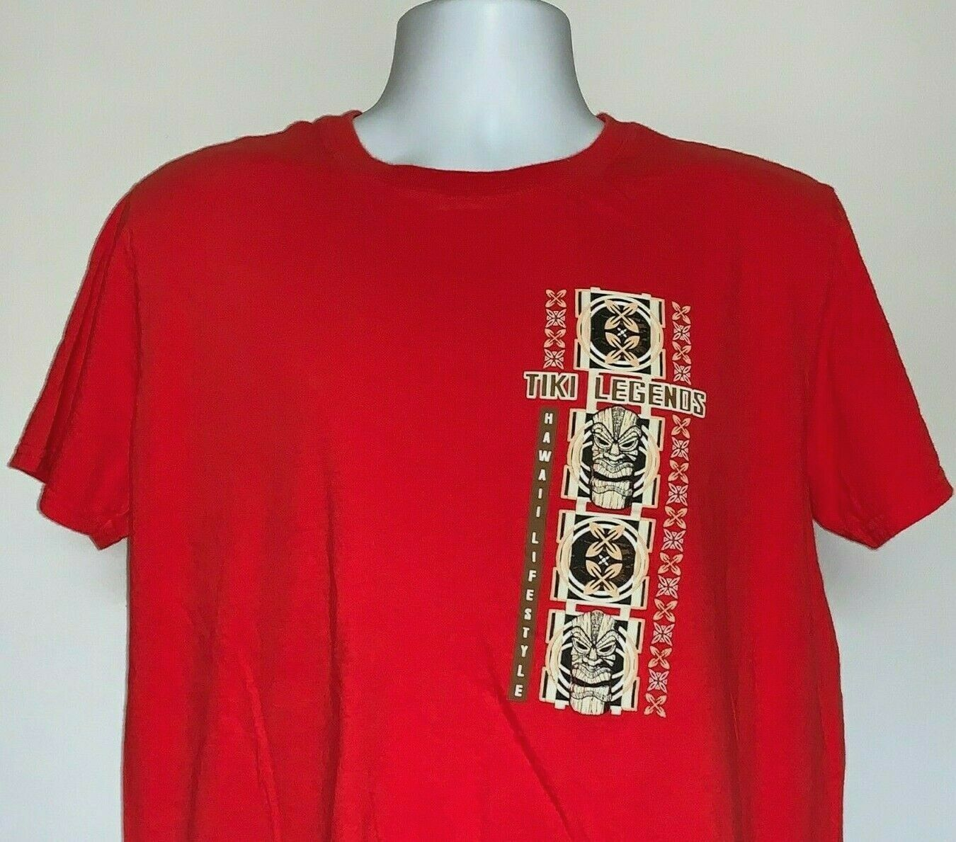 Primary image for Hawaii Lifestyle Tiki Legends T Shirt Mens Large Red 100% Cotton