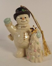 Lenox Holiday Greenings Snowman Ornament Hand Painted 24 k Gold Fine China 2002 - $14.84