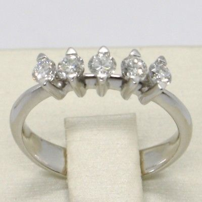 18K WHITE GOLD BAND RING WITH 5 DIAMONDS, 0.40 CARATS ENGAGEMENT, MADE IN ITALY