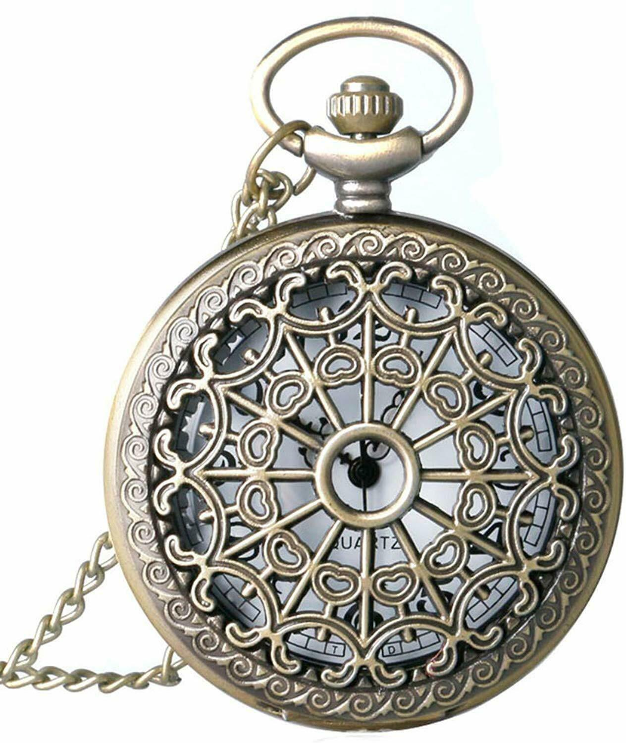Primary image for Classic Smooth and Spider Web Hollow Vintage Quartz Pocket Watch, Arabic