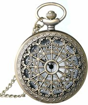 Classic Smooth and Spider Web Hollow Vintage Quartz Pocket Watch, Arabic - $22.99