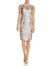 Adrianna Papell Women's Lace Sequined Cocktail Dress size 4 light Mink #956 - $39.99