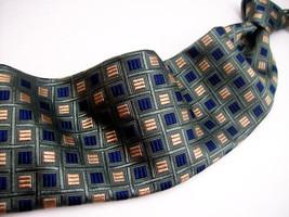 Hart Schaffner Marx Green Blue/Gold GEO MENS 100 SILK Necktie  1031-15 - $29.99