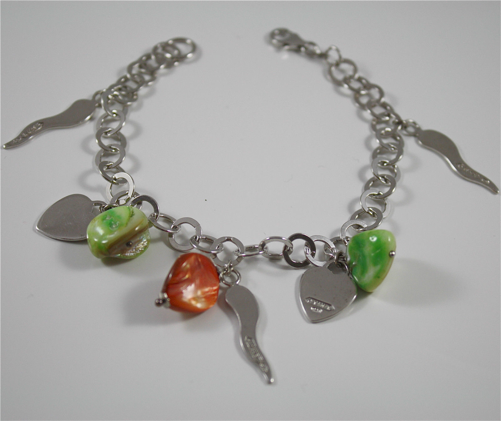 Bracelet in Sterling Silver 925 Rhodium with Hearts, Horns, Pearl Green, charms