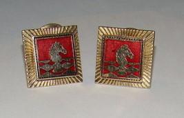 Vtg 1960's Chess Piece Knight Horse Enamel Clip on Earrings Goldtone & Red - $9.99