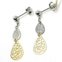 18K YELLOW WHITE GOLD PENDANT EARRINGS, DOUBLE FLAT DROPS WITH FLOWERS, 3.5cm  image 3
