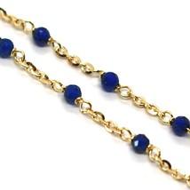 Bracelet or Jaune 18K 750, Cubic Zirconia Bleu, Sphères à Facettes, Rolo Ovale image 2
