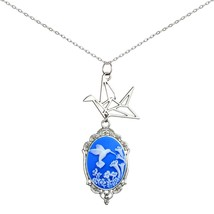 Paper Crane Necklace Origami Cameo Pendant 2 Chains Gift Jewelry (Pure H... - $826,11 MXN