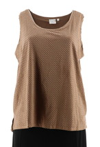Women with Control Controlways Perforated Faux Suede Tank Camel L NEW A279579 - $30.67