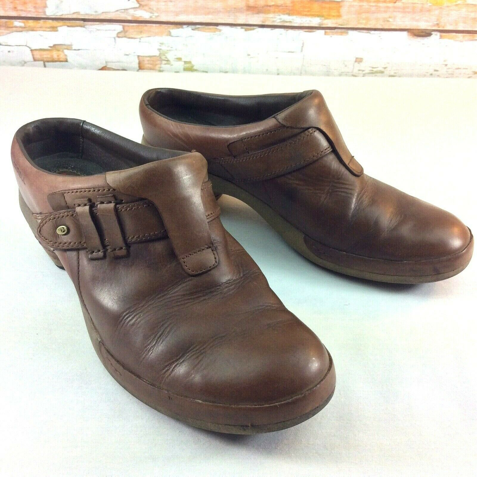 """MERRELL Womens Size 11 Clogs Luxe Plunge Brown Leather 2.5"""" Heel Slip On J48518"""