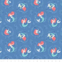 Disney Little Mermaid Ariel Swirl Blue Camelot 100% cotton fabric by the... - $15.04