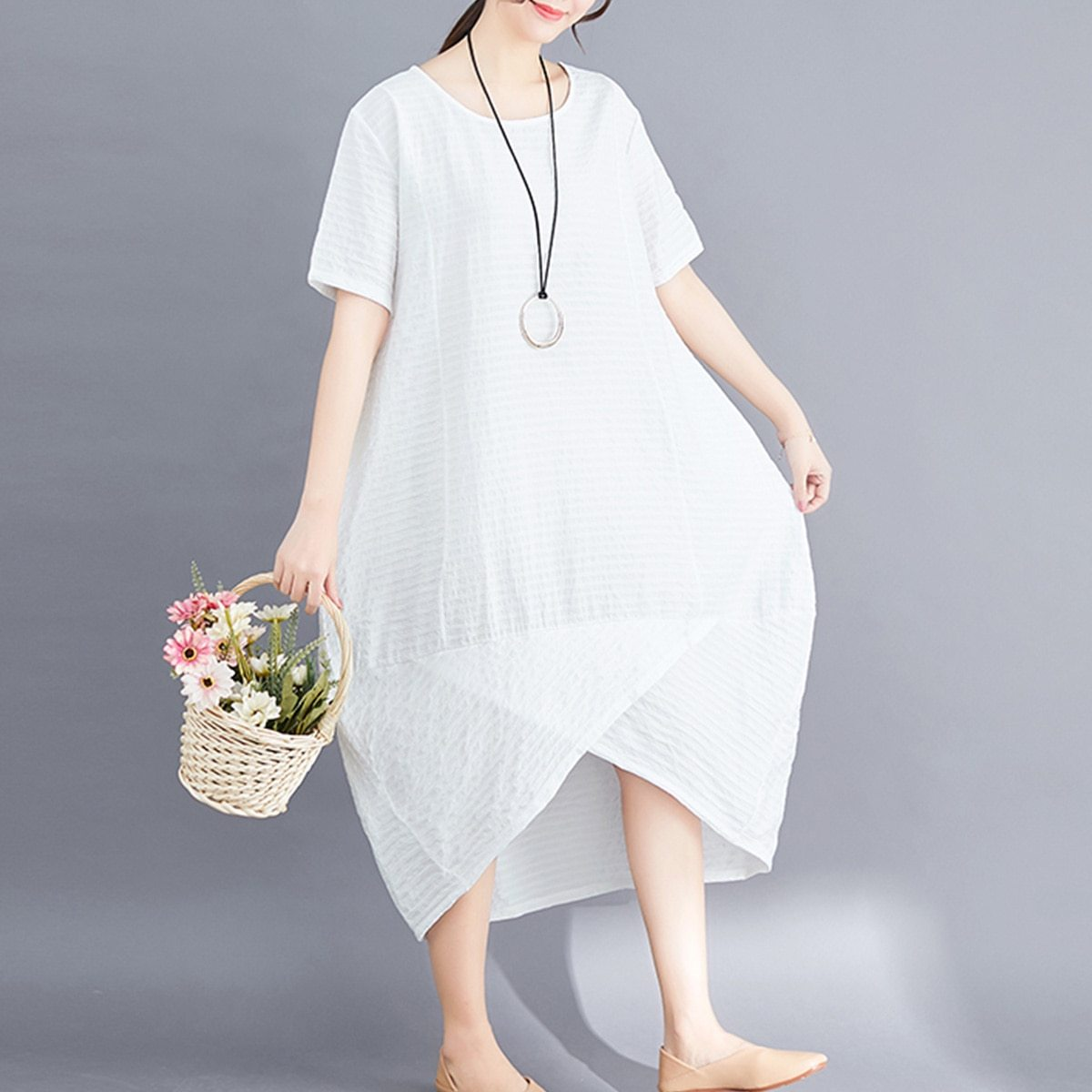 Maternity Dress O Neck Loose All Match Chic Breathable Mom Dress image 3