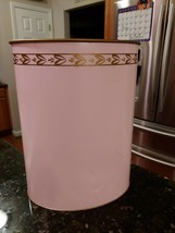 Vintage Ransburg Hand Painted Retro Style Trash Waste Can Pink Gold Accent - $44.89
