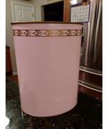 Vintage Ransburg Hand Painted Retro Style Trash Waste Can Pink Gold Accent - $42.75
