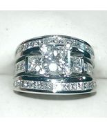 Diamond Trio Set Engagement Ring Wedding Band 14K White Gold Plated 925 ... - $137.99