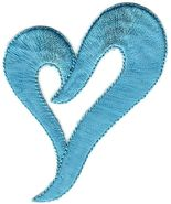"""2.25"""" Light Blue Heart Embroidery patch - $3.99"""