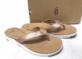 UGG Australia Lorrie Metallic Leather Sandals 1019864 Rose Gold Flip Flo... - $69.99