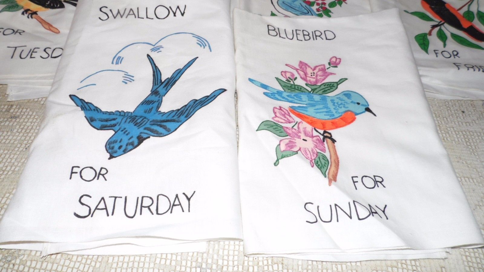 VINTAGE LIQUID HANDPAINTED WASHABLE TEA TOWELS DAYS OF THE WEEK BIRDS DESIGN 7PC