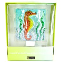 "Jaco Handcrafted Fused Glass Ocean Seahorse 4"" Square Night Light image 6"