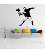 ( 20'' x 19'') Banksy Vinyl Wall Decal Protest Flower Thrower / Street G... - $21.44