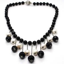 925 Silber Halskette, Onyx Schwarz Rund, Perlen Weiß, Fransen, Wasserfall - $234.83