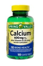 Spring Valley Calcium 600MG With Vitamin D3 20MCG 100-CT EXP:01/23 SAME-DAY Ship - $9.60