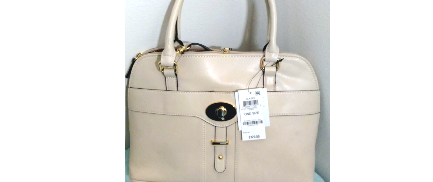 $129 Gianni Bernini Turnlock Glazed Dome Satchel Ivory (Ivory). new with tags