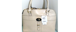 $129 Gianni Bernini Turnlock Glazed Dome Satchel Ivory (Ivory). new with tags image 1