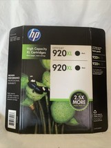 Genuine HP 920XL Twin Pack Black Cartridge CN701BN Two Pack New in Retail Pack - $28.49