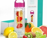 Savvy Infusion Water Bottles - 24 or 32 Ounce Fruit Infuser Bottle - Featuring U
